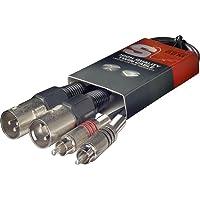 Stagg STC060CMXM 60 cm 2x RCAm - 2x XLRm dubbele kabel, 0.6m, Zwart