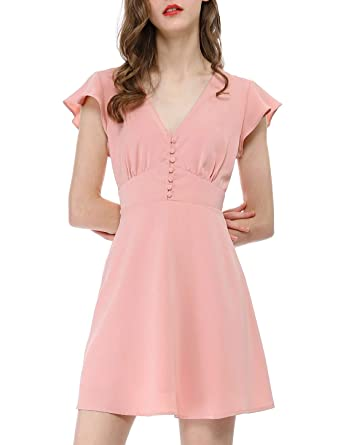 f8cc3b4265466 Allegra K Women's Ruffle Sleeves V Neck Button Elastic Waist Skater Dress
