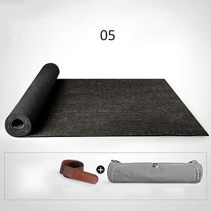 Amazon.com : Yoga mat 183 66cm5mm Natural Linen Rubber ...