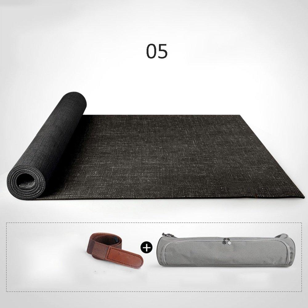 Yoga mat 183 66cm5mm Natural Linen Rubber (Color : E)