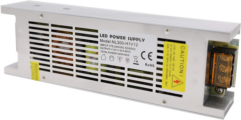 Daxpoo Tira De Led Fuente De Alimentación 12v Voltio 300W Raya Transformador Iluminación Controlador Dc Adaptador (NL300-DP12)