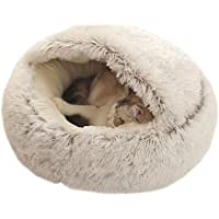 Hooded Cat Bed Round Fluffy Cats Tent Cave Cosy Long Plush Pet Sleeping Bag House Home Indoor for Kitten Rabbit Samll…
