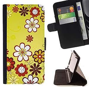 DEVIL CASE - FOR LG Nexus 5 D820 D821 - Design Yellow Floral Flowers - Style PU Leather Case Wallet Flip Stand Flap Closure Cover