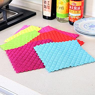 6pcs Multi Color Dishcloths: Quilted Square Sucking Thick Microfiber Cloth Dish Towel