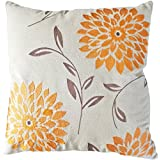"""Decorative chrysanthemum Flower Embroidery Floral Throw Pillow COVER 18"""" Orange"""