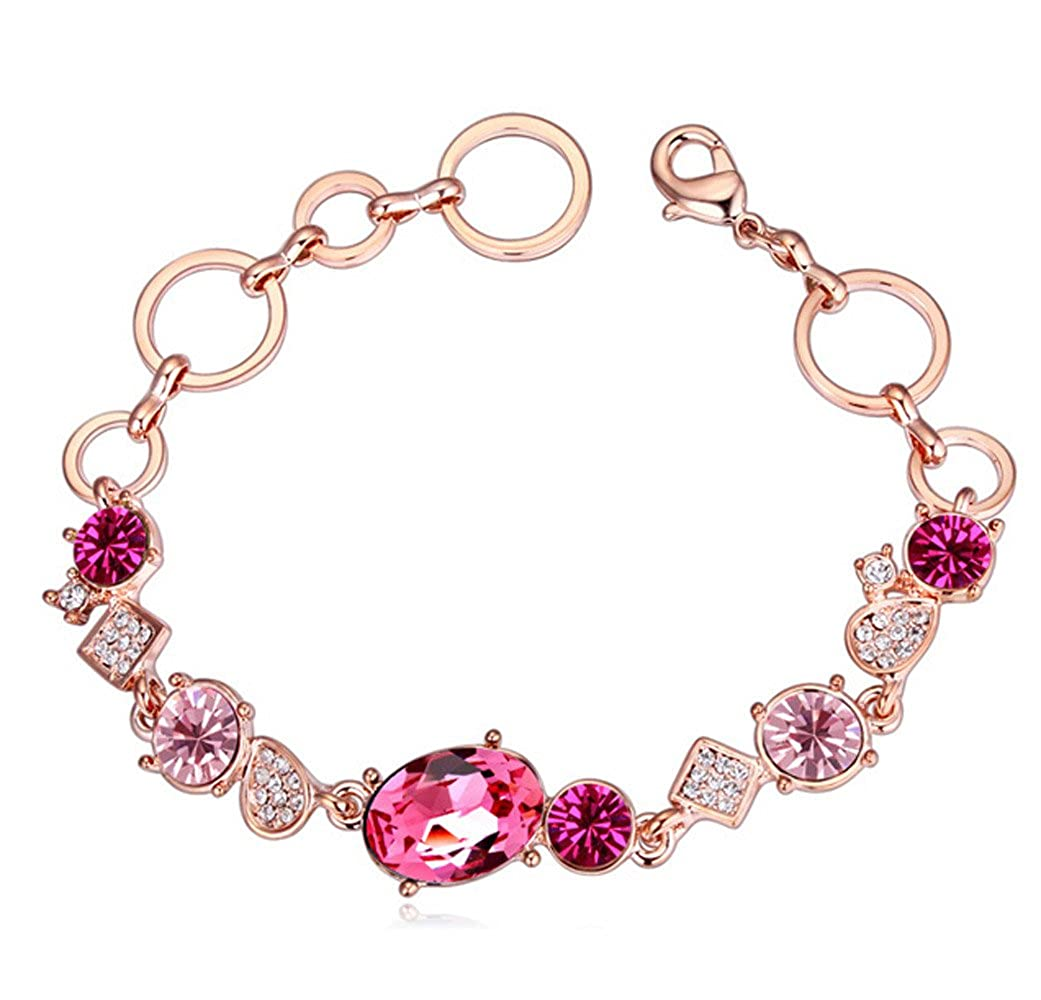 Swarovski Elements Crystal Trend Rose Red Geometry Chain Link Charm Bracelet Rose Gold Plated