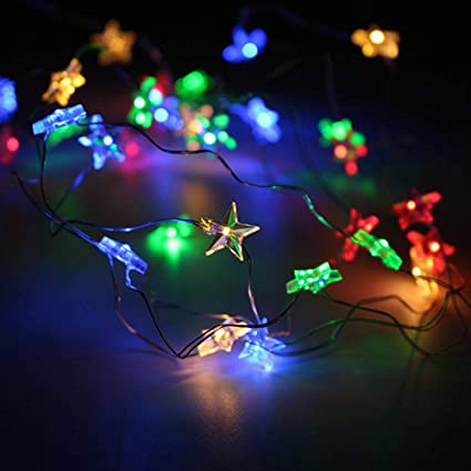 Aolvo Led Old Fashioned String Lights 16ft 50 Led Star String Lights Bulk Electric Battery Operated Small Star String Lights For Wedding Party