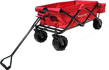 Carrito de madera plegable con compartimento adicional, Offroad CARRO de transporte, mano carro, playa carro, rojo: Amazon.es: Jardín
