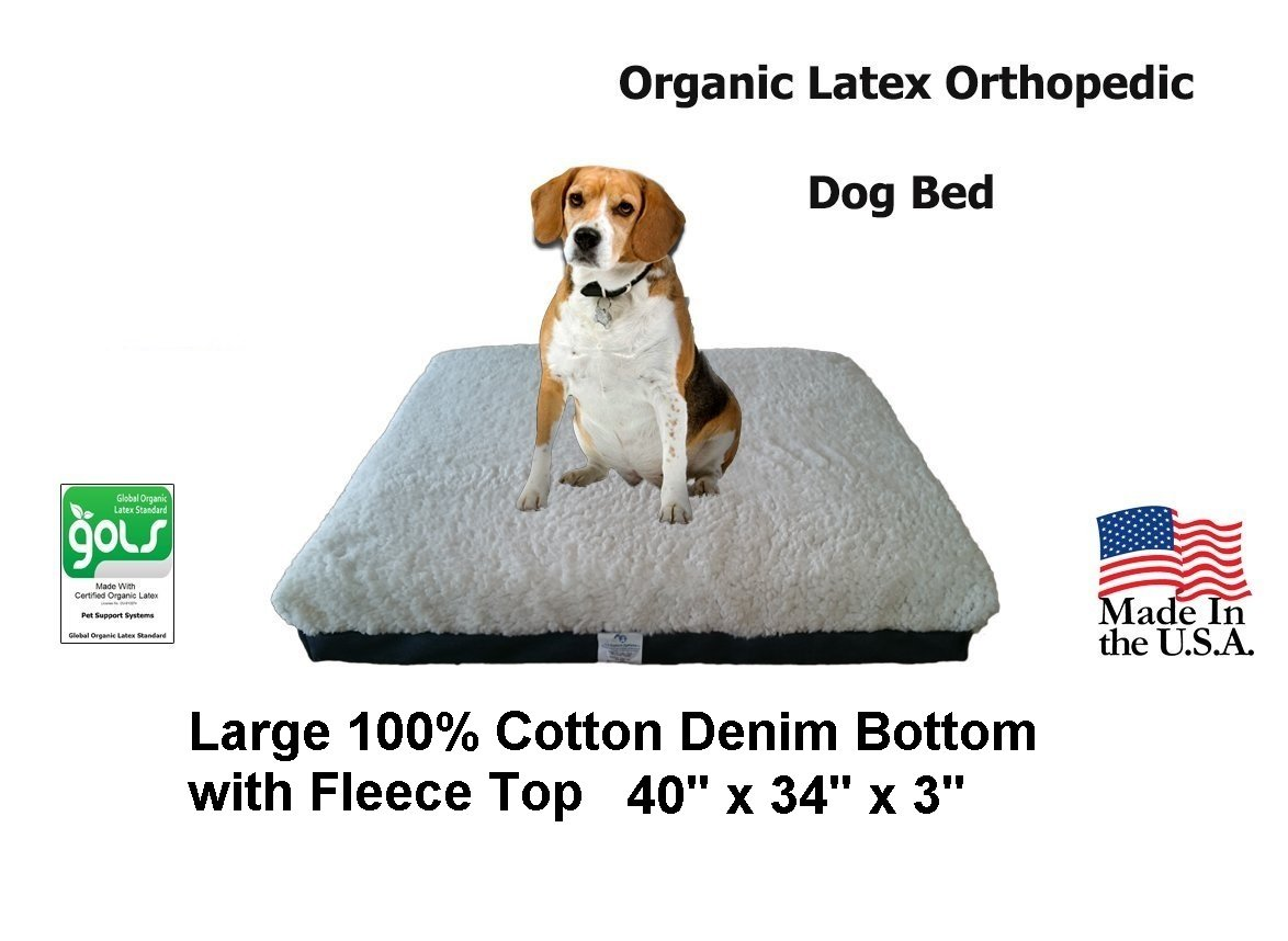 Back Support Systems Certified Organic Latex Orthopedic Pet Bed 40'' x 34'' x 3'' | Large | (Blue Denim with Fleece Top)