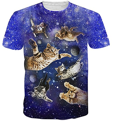 HWHColor Juniors Kitty Cats Flying In Space Short Sleeve Shirt Cool Graphic Tee,Cat Fly,Asia L- US S