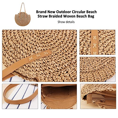Straw bag Dual Bag Su Bag luoyu Purpose Woven Circular Braided beige Bag camel Camel Beach Beach Straw Crossbody Bag Travel Handbags Shoulder Women Sling Round Outdoor Purse w4rf6xwUn