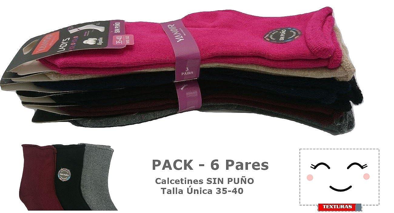 TEXTURAS HOME - Pack - 6 pares de Calcetines Mujer SIN PUÑO Yanoir Talla Única 35-40: Amazon.es: Ropa y accesorios