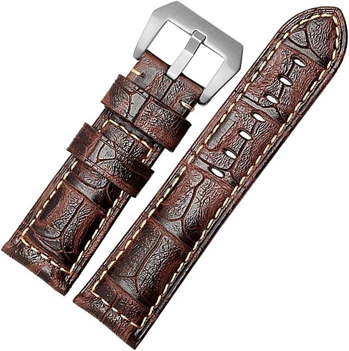 67bbba90efe1 de Gama Alta Reloj 24mm Banda de Piel de Becerro de reemplazo de Cuero  Correa de
