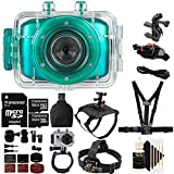 Vivitar DVR-781HD Teal Action Camcorder 1.77'' TFT SCRN, 1.3MP + 40GB MicroSD Memory Card + Reader + Head Mount + Wrist Mount + Dog Back Mount + Head Mount + Chest Mount + 3pc Cleaning Kit