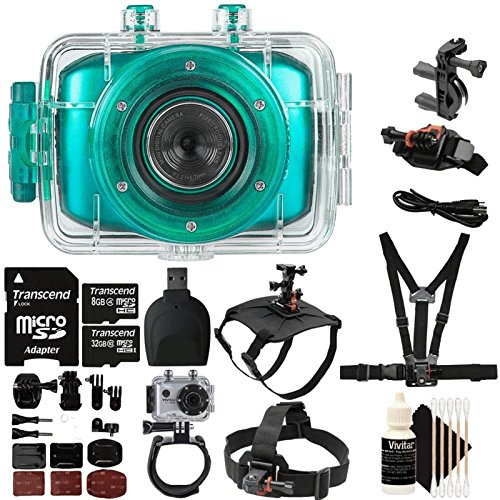 Vivitar DVR-781HD Teal Action Camcorder 1.77'' TFT SCRN, 1.3MP + 40GB MicroSD Memory Card + Reader + Head Mount + Wrist Mount + Dog Back Mount + Head Mount + Chest Mount + 3pc Cleaning Kit by Teds