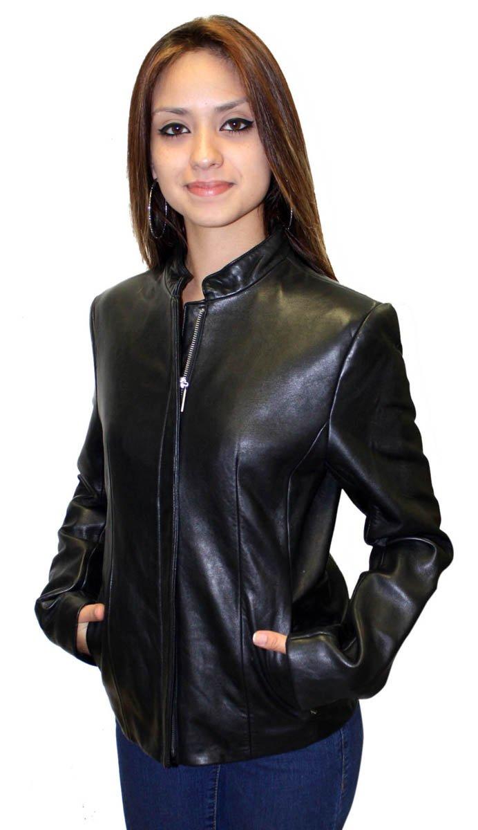 Women's Collarless Leather Jacket Genuine Lamb Leather Black