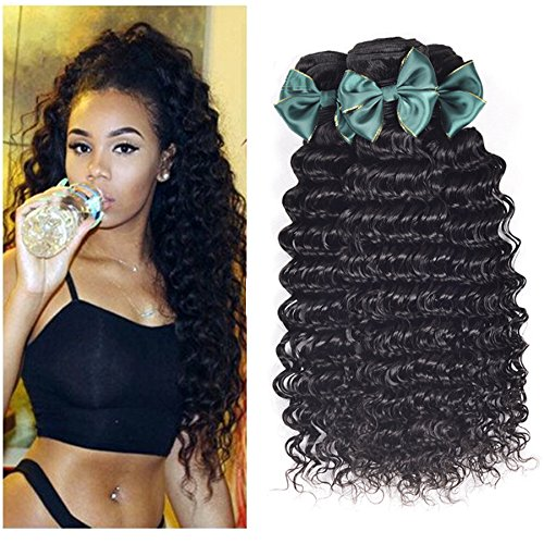 - Perstar Wet and Wavy Human Hair Weave Bundles Deep Wave 3 bundels Brazilian Virgin Curly Hair Bundles 8A Unprocessed Remy Human Hair Bundles Deep Curly Wave Hair Extensions 8 10 12 Inch