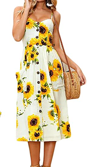 UUYUK-Women Sexy Spaghetti Strap Floral Boho Midi Dresses Vestidos at Amazon Womens Clothing store: