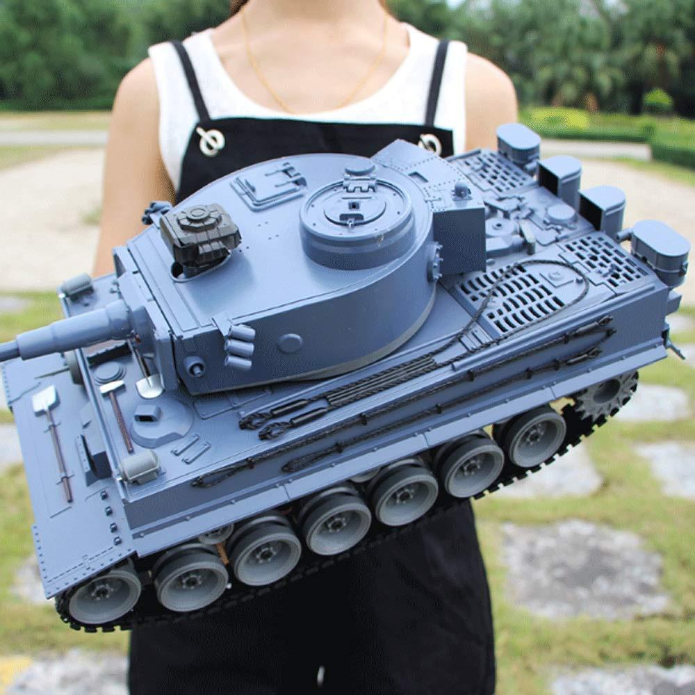 Mopoq 充電リモートコントロールタンクUSB充電ケーブルとチャリオット玩具RC戦車リモートコントロールパンツァー戦車錫プレイセット(カラー:グリーン)でSOUN回転PL2850タンクとの1:18ドイツタイガーI (Color : グレー 青, Size : Battery 2)