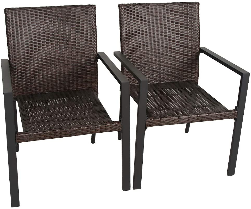 Bali Outdoors Wicker Patio Dining Set, Set of 2 Stackable Outdoor Wicker Chairs for Patio, Garden, Yards, Indoor, Multibrown