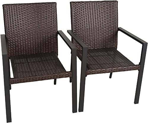 Bali Outdoor Wicker Patio Dining Set, Set of 2 Stackable Outdoor Wicker Chairs for Patio, Garden, Yards, Indoor, Multibrown