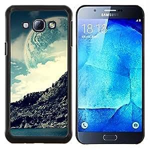 Qstar Arte & diseño plástico duro Fundas Cover Cubre Hard Case Cover para Samsung Galaxy A8 A8000 (Espacio Moon Mountain)