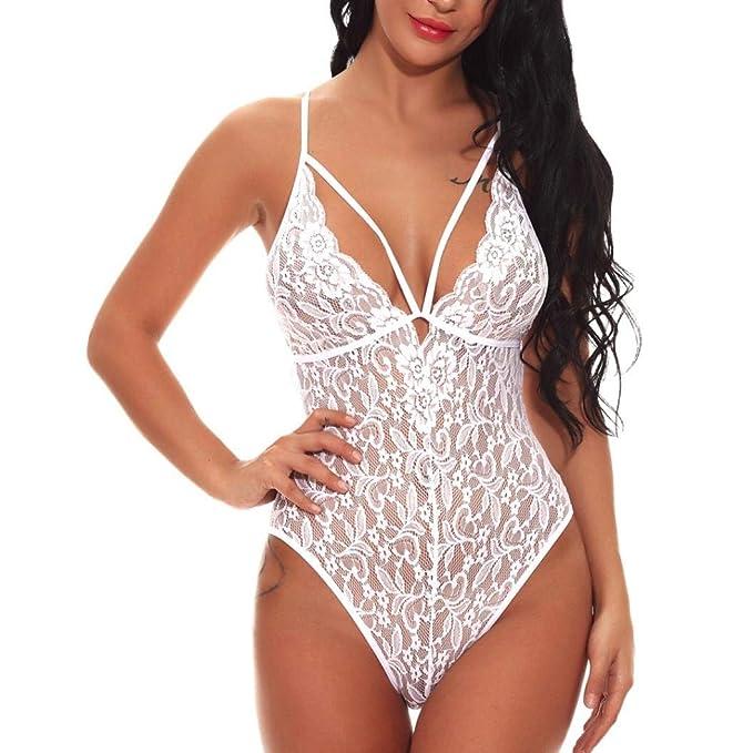 fb35ca0b6 Modaworld Lencería Erotica Mujer Body con Cuello en V Sexy para Mujer Ropa  Interior