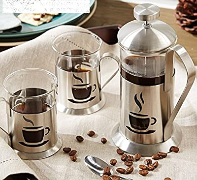 French Press Coffee Plunger Pot For Both And Tea 3pcs/set Glass 350ml Home Office Carafe Kettle Make