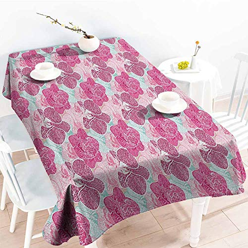 familytaste Floral,Wholesale tablecloths Artistic Orchid Blossoms in Pink and Mint Shades and Grunge Effect Tropical Plant 54