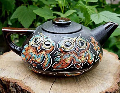 Handmade ceramic teapot, Owl gifts, House warming gift, Pottery teapot, Kitchen gifts, 33.8 oz, Gifts for mom (Stoves & Country Oak)