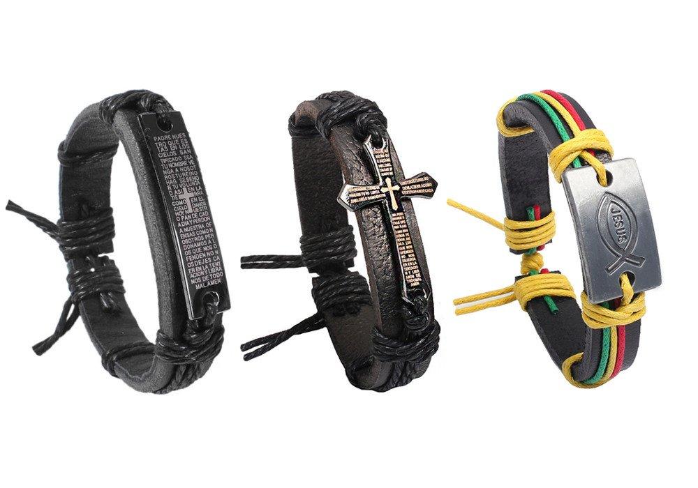 3 Packs Adjustable Leather Chain Charms Bracelet Christian Religious Bible Verse Wristband Handmade Gospel Scripture Bangle Unisex Size for Teens Adult Men Women (A)