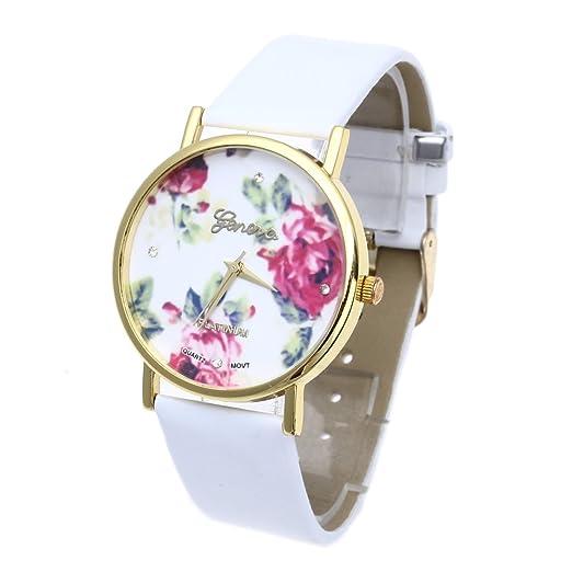 c7dbe83a2dc6 Reloj de Pulsera Cuero Blanco Cuarzo Esfera Flores Rosas para Mujer   Amazon.es  Relojes