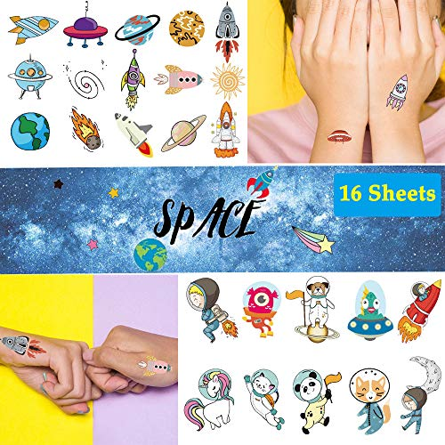 Ooopsi Space Temporary Tattoos for Kids - More Than 140 Tattoos (Pack of 16 Sheets) - Waterproof Universe Outer Space Tattoos Sticker for Children Boys Birthday Party Favors]()