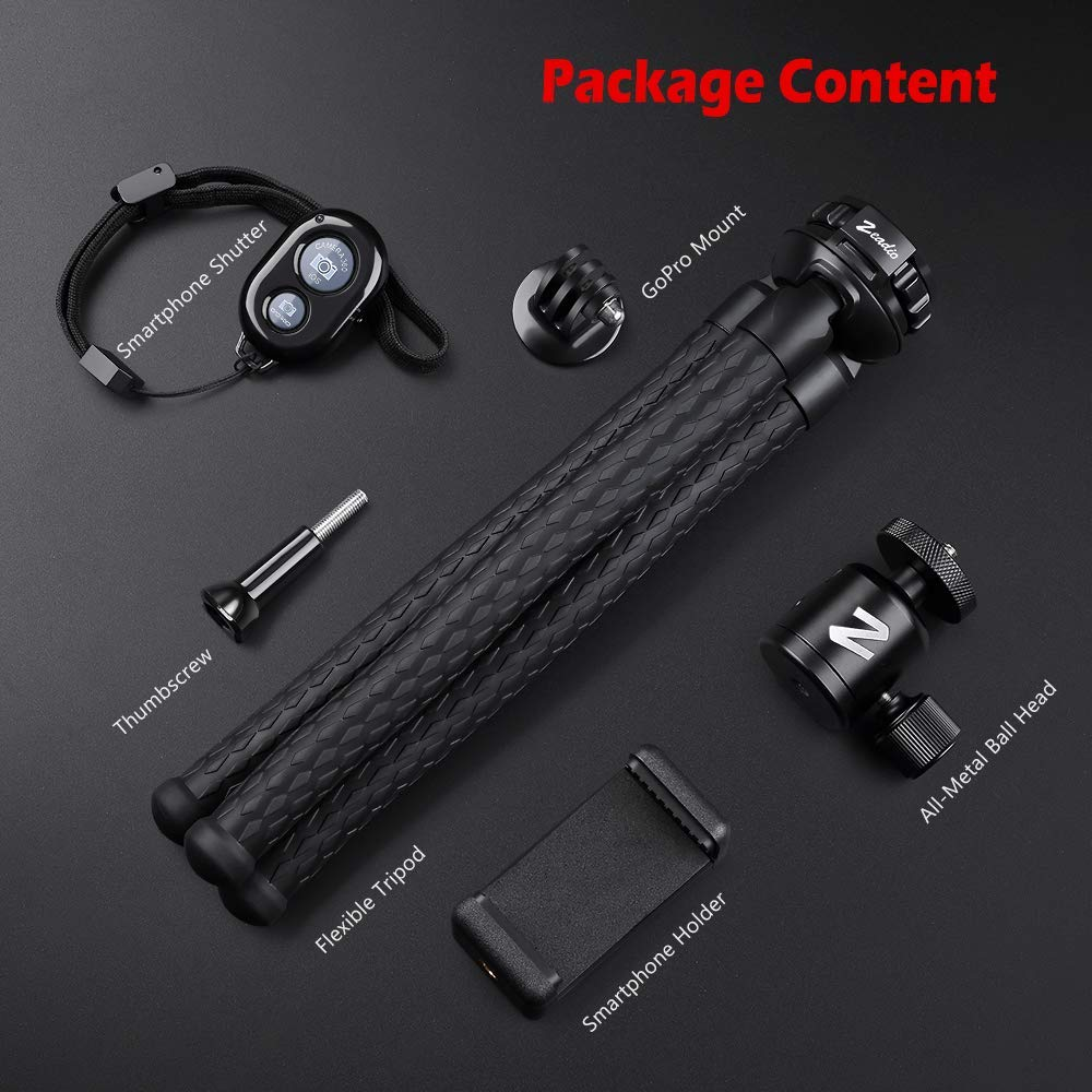 Cellphone Tripod Holder and Standard dapter for Gopro Zeadio Flexible Camera Tripod Kits Camera,Camcorder with Metal Ball Head Mount Action Cameras etc DSLR