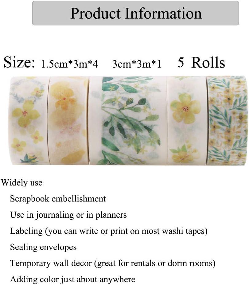 Embellissez Bullet Journal lOrdre Rouge Lychii 20 Rolls Multi-Pattern Washi Tape Ruban Adh/ésif Papier D/écoratif Masking Tape Scrapbooking