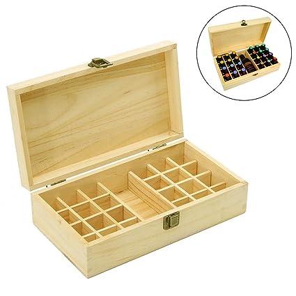 Caja de madera para almacenamiento de aceites esenciales, para 24 botellas de 5 ml,