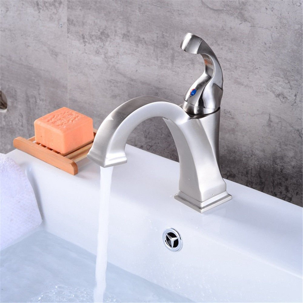 Modern simple copper hot and cold kitchen sink taps kitchen faucet Head-up washbasin faucet antique hotel basin faucet silver copper faucet Suitable for all bathroom kitchen sinks
