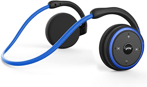 Amazon Com Small Bluetooth Headphones Behind The Head Sports Wireless Headset With Built In Microphone And Crystal Clear Sound Fold Able And Carried In The Purse And 12 Hour Battery Life Blue Home Audio Theater