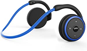 Small Bluetooth Headphones Behind The Head, Sports Wireless Headset with Built in Microphone and Crystal-Clear Sound, Fold-able and Carried in The Purse, 12-Hour Battery Life, Blue