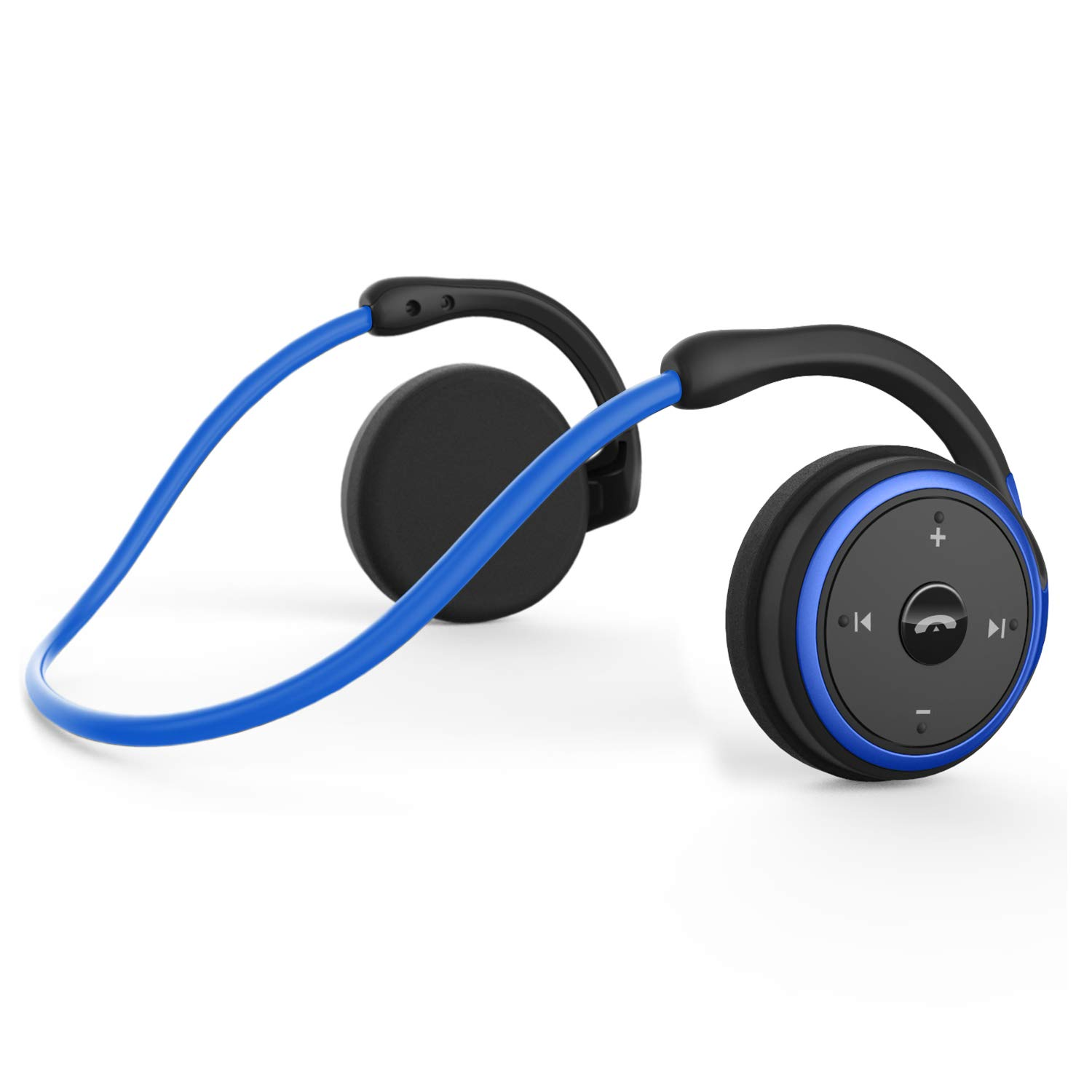 Small Bluetooth Headphones Behind The Head, Sports Wireless Headset with Built in Microphone and Crystal-Clear Sound, Fold-able and Carried in The Purse, and 12-Hour Battery Life, Blue