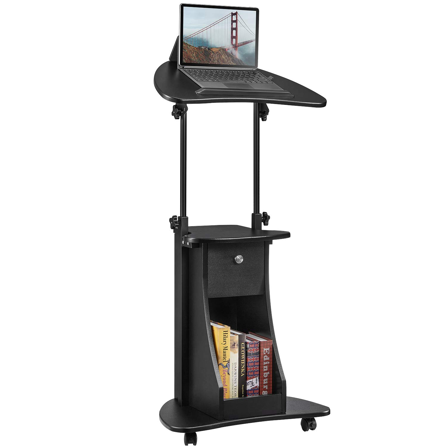Kealive Adjustable Laptop Cart Sit-to-Stand with Rotatable Desktop, Heavy-Duty Wood Panels and Steel Frame Rolling Podium Desk, Mobile Standing Laptop Cart with Storage, 22''L x 16''W x 46''H, Black by kealive