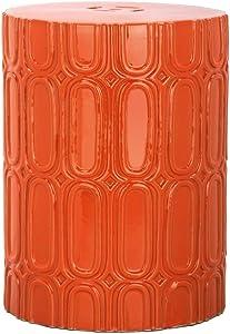 Safavieh Melody Glazed Ceramic Decorative Garden Stool, Orange