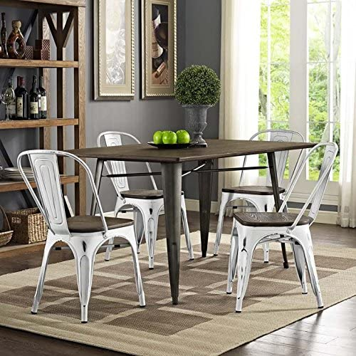 Modway Promenade Industrial Modern Aluminum Bamboo Four Kitchen and Dining Room Chairs in White