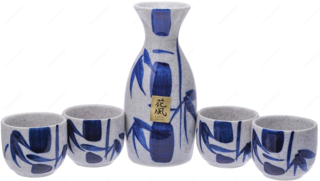 Kafuh MSE70WBV Japanese Porcelain Sake Set with Blue Bamboo, Bottle: 4.50'' (H) x 3.00''(W) | Cups: 1.50'' (H) x 2'' (W)