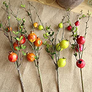 Glumes Artificial Fruit Pomegranate Berries Bouquet Fake Flowers Home Decorations for Bridal Wedding Bouquet,Birthday Bunch Hotel Party Garden Floral Decor 61