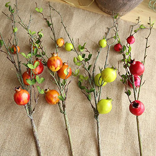 Artificial flower,Fake Rose Fruit Pomegranate Berries Bouquet Long Dry Branch Floral For Garden Home Decor (Red) by MaxFox (Image #6)