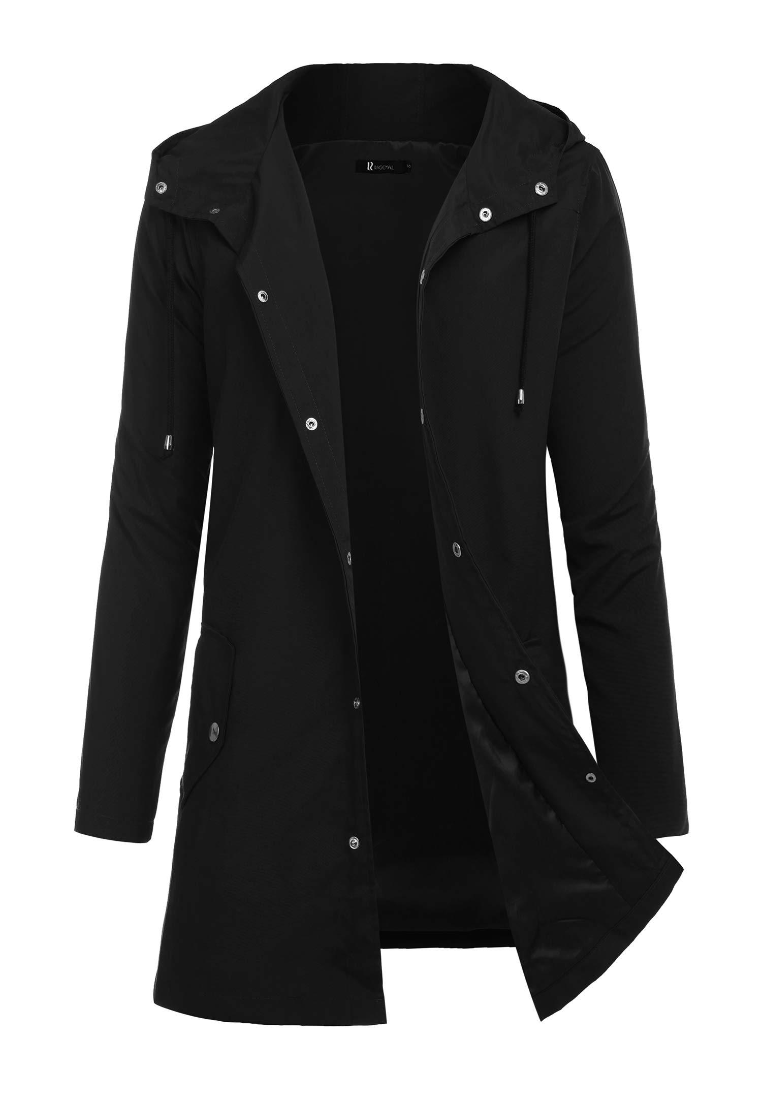 RAGEMALL Men Raincoats Waterproof Jacket with Hood Active Outdoor Long Windbreaker Lightweight Rain Jacket for Men Black L