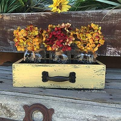 Wood DRAWER with 3 Mason Canning Pint Jars Centerpiece mustard yellow red rust burgundy white