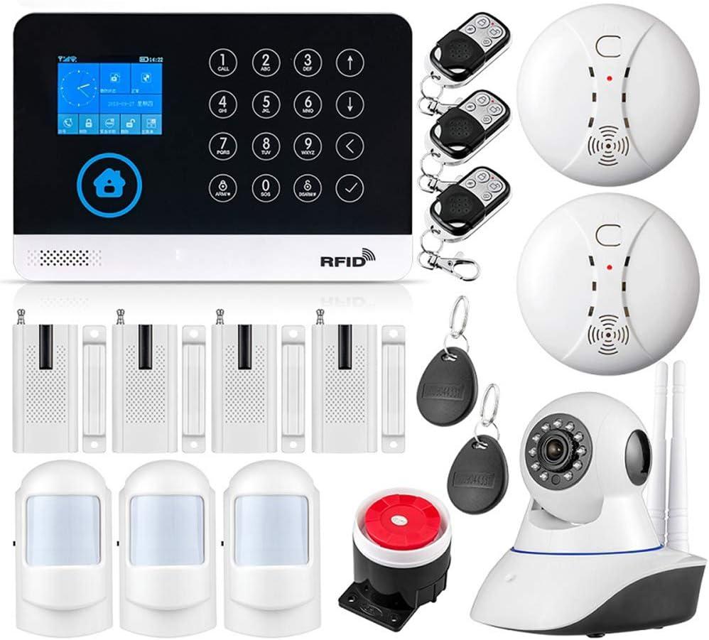 Diy Family Store Home Security System WiFi GSM Wireless Home&Business Burglar Security Alarm System APP Control Wireless Camera Siren RFID Motion Detector PIR Smoke Sensor