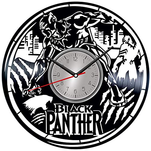 (TopVinylShop Black Panther Vinyl Wall Clock - Home Decor Him Her Birthday Christmas Anniversary - Themed Clock for Superheroes Lovers Fans - Kids Living Room Kitchen Wall Art - 12)